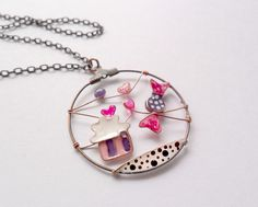 Cupcake necklace candy pendant bronze wire by ThePurpleBalloon