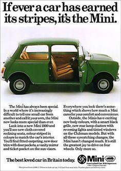 MINI AUSTIN MORRIS RETRO A3 POSTER PRINT FROM CLASSIC 70's ADVERT in Vehicle…