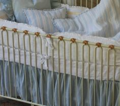 100 Linen Voile Raina Crib Skirt Gathered Only by DesignWithUs, $198.00