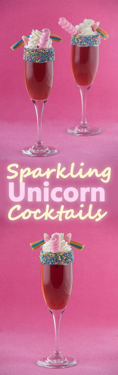 Magical unicorn cocktails are a grown up take on the unicorn food trend. This rainbow unicorn wine drink is made of sparking wine and lots of colorful candy decorations. It's the ultimate way to celebrate at your unicorn party. #rainbowfood #rainbowdrinks