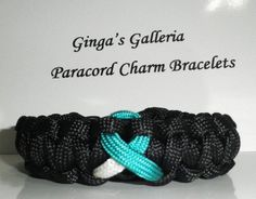 Cervical Cancer Awareness Black with Teal and White Ribbon Paracord Br | gingasgalleria - Jewelry on ArtFire