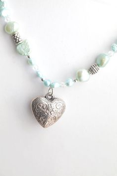 Mint green Freshwater Pearl Necklace with Heart accent