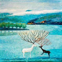 """Deer river 2"", oil on canvas 30x30 2017 (C) Shijun Munns #Art #OilPaintings #Landscape #Animals #artist #artistic #myart #artwork #graphic #color #Deer #river #painting River Painting, Painting Art, Wood Paneling, Land Scape, Oil On Canvas, Deer, Original Paintings, Moose Art, Blessing"