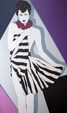 Patrick Nagel Lisa Acrylic on Canvas 52 x 31
