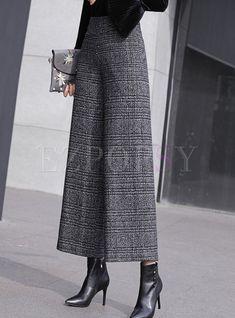 Pants | Pants | Fashion Plaid High Waist Woollen Wide Leg Pants