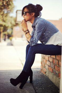 denim &chunky heels