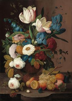 "Severin Roesen (American): Oil Painting, ""Still Life, Flowers and Fruit"" [National Gallery of Art, Washington, D. Fruit Painting, Oil Painting Flowers, Wall Art Decor, Wall Art Prints, Poster Prints, Art Floral, Summer Flowers, Colorful Flowers, National Gallery Of Art"