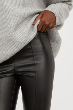Salt Tree Women/'s Faux Leather Hugging Tight Long Legging Pant