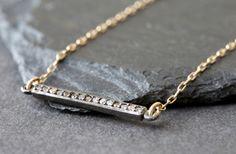 bar pave diamond necklace. $148.00