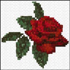 free cross stitch red rose