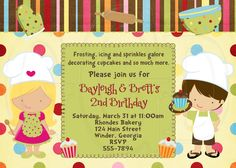 Little Chef Invitation Baking Party Boy Girl  -Digital File. $12.00, via Etsy.