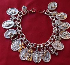 Religious Saint Medal Charm Bracelet (602b) Woman Saints