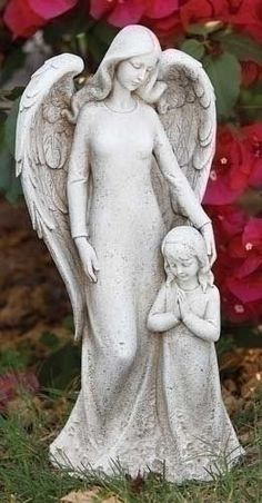 Guardian Angel with Child Girl Garden Statue Contemporary Memorial or Gravesite