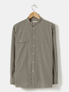 Universal Works Stoke Shirt in Dark Stone Poplin Cotton