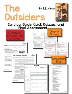The Outsiders - Novel Unit - Common Core-Aligned - A 140-page resource, designed to capture your student's attention, enhance close reading skills, and facilitate deep thinking and discussion when reading S.E. Hinton's beloved novel, The Outsiders.  The Outsiders Novel Unit is organized as a Survival Guide packet for students, chapter-by-chapter quizzes, and a final exam. Buy today and teach tomorrow!