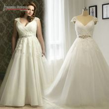 NS1261 Cap Sleeve Pleated Bust Plus Size Wedding Dress 2016 Real Photos (China (Mainland))