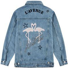 être cécile L'avenue Des Stars Flamingo Oversized Jacket (1.700 DKK) ❤ liked on Polyvore featuring outerwear, jackets, blue jean jacket, oversized denim jacket, jean jacket, embroidered jean jacket and denim jacket