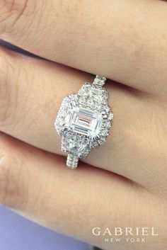 18k White Gold Emerald Cut Three 3 stones Halo Engagement Ring