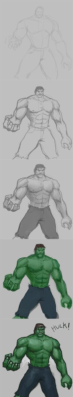 how to draw Hulk step by step