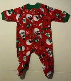 Childrens Place Baby Boy Girl Unisex Red Fleece Snowman Sleeper Pajamas 0-3 Mth #ChildrensPlace #OnePiece