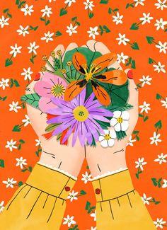 Art And Illustration, Illustrations, Frida Art, Happy Spring, Spring Flowers, Art Girl, Flower Art, Art Prints, Drawings