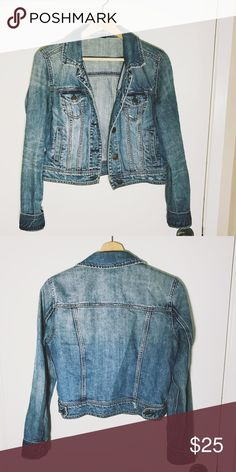 American Eagle Distressed Denim Jacket A staple for any girl's closet! American eagle distressed denim jacket, size medium, great color and fit, perfectly distressed design American Eagle Outfitters Jackets & Coats Jean Jackets