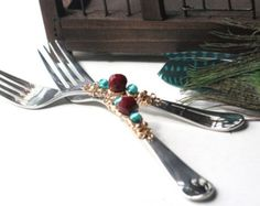 Pearl & Gold Wedding Beaded Cake Fork Set of Two 2 by CoutureTable
