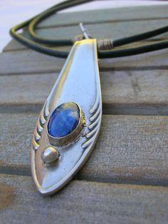 Upcycled FORK handle PENDANT w/LAPISLAZULI gemstone by mamaJoia, $28.00