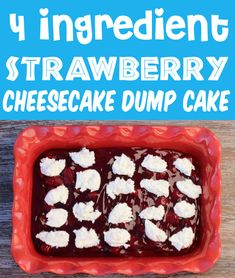 Strawberry Cheesecake Recipe - Easy Dump Cake with Just 4 Ingredients! Get ready to meet your new favorite dessert. you won't believe how fast and simple it is to make too! Go grab the recipe and give it a try this week! Easy Easter Desserts, Easy Summer Desserts, Easter Recipes, Fun Desserts, Delicious Desserts, Dessert Recipes, Easter Ideas, Strawberry Cheesecake Recipe Easy, Easy Cheesecake Recipes