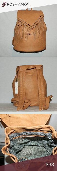 Sole Society Faux Leather Backpack Sole Society Medium Sized Bucket Style Backpack. New with tags, has not been used, excellent condition, 3 open pockets on the inside , 100% leather fringe Sole Society Bags Backpacks