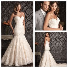 Our newest arrival: A gorgeous shaped gown with a drop waist. The fitted bodice has a sweetheart neckline and the entire design is adorned with delicate lace applique. #sheacouturebridal