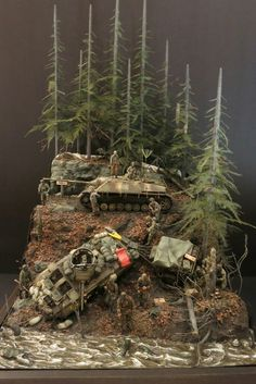 here is my latest diorama that I have been wanting to do for a long time. It is a diorama that takes place during the ardennes offensive around Houffa Diorama Militar, Model Tanks, Model Hobbies, Military Modelling, Toy Soldiers, Military Art, Plastic Models, Scale Models, Vignettes