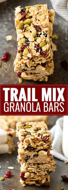 No Bake Chewy Trail Mix Granola Bars - Recipes to Cook - Studentenfutter Trail Mix Granola Bar Recipe, No Bake Granola Bars, Healthy Granola Bars, Homemade Granola Bars, Healthy Bars, No Bake Oatmeal Bars, Chewy Granola Bars, Trail Mix Bars, No Bake Bars