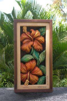 HIBISCO flor talla en madera arte de la pared por SusanaCaban