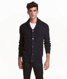 Ribbed cardigan | Dark blue | Men | H&M CA