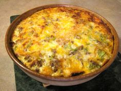 Our family's favorite Sausage & Cheese Egg Casserole has the perfect savory ingredients and it bakes up all golden brown and cheesy!