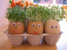 Kleinkinder können Eierschalen dekorieren zum Bepflanzen mit Kresse