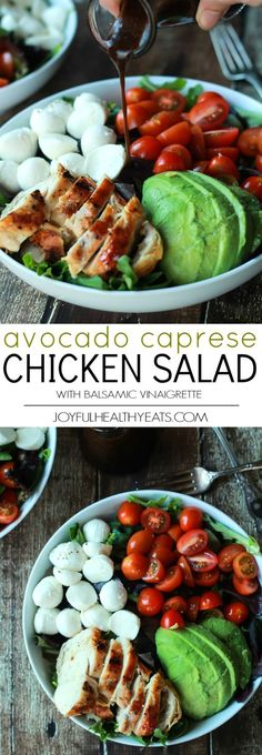 A Quick Easy Dinner for two, Avocado Caprese Chicken Salad topped with a light Balsamic Vinaigrette. The perfect Salad recipe that only takes 15 minutes! | joyfulhealthyeats.com #recipe