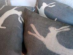 Burlap pillows #rabbits