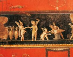 Detail of fresco depicting cupids drinking wine, from House of Vettii, Pompeii , Campania, Roman Civilization, 1st Century