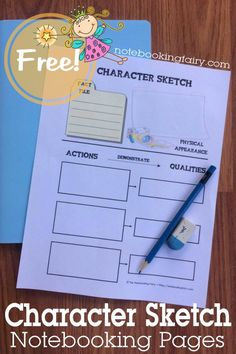 Character Sketch Notebooking Pages FREE from the Notebooking Fairy   homeschool   language arts   literature   reading
