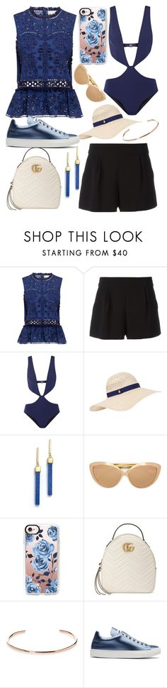 """""""Untitled #374"""" by jillian-huxford ❤ liked on Polyvore featuring Sea, New York, Boutique Moschino, FELLA, Accessorize, Mateo, Linda Farrow, Casetify, Gucci, A.V. Max and Jil Sander"""