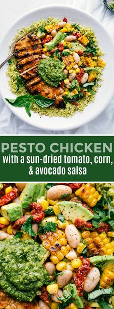 Delicious pesto chicken bowls with lemon chicken, an avocado & corn salsa, and plenty of pesto! This easy dinner recipe is made with nutritious ingredients and whips together quickly! chelseasmessyapro& The post Pesto Chicken appeared first on Diet. Easy Healthy Dinners, Healthy Chicken Recipes, Healthy Dinner Recipes, Health Chicken Dinners, Quick Easy Healthy Dinner, Healthy Dishes, Avocado Pesto, Grilled Avocado, Recipes