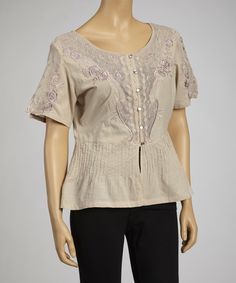 Take a look at this Taupe Embroidered Short-Sleeve Button-Up by Papillon Imports on #zulily today!
