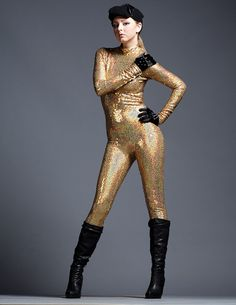 Incredible Gold Sequins Holographic Bodysuit by AliciaZenobia, $250.00  Gorgeous