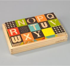 PUZZLE BLOCKS - Lead-free, non-toxic. I love the bold patterns, bright colors, and big letters
