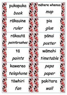 These labels were made to fit a New Zealand classroom. They have the english and Maori translation. School Resources, Teacher Resources, Teaching Tools, Teaching Kids, Maori Songs, Box Light, Waitangi Day, Maori Symbols, Classroom Labels