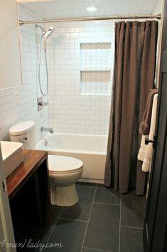 White bathroom - the wood vanity is gorgeous