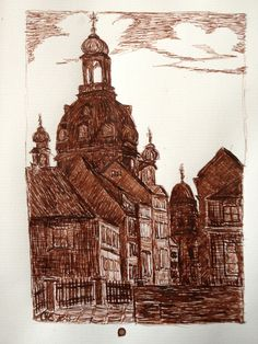 Ink drawing -  historical Dresden