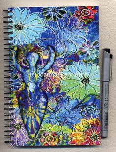 Mixed media art journal notebook by joannagrantart on etsy art journal page Art Journal Pages, Journal Notebook, Art Journals, Art Journal Inspiration, Journal Ideas, Mini Doodle, Gelli Arts, Plate Art, Chalkboard Art